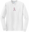 Pink Ribbon Awareness Rhinestone Long Sleeve Shirt - in 18 Shirt Colors