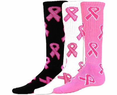 Pink Ribbons Breast Cancer Knee High Socks - 3 Color Options