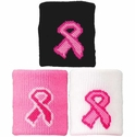 Pink Ribbon Breast Cancer Wristbands - 3 Color Options