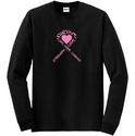 Pink Ribbon & Heart Awareness Long Sleeve Shirt - in 20 Shirt Colors