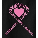 Pink Ribbon & Heart Cancer Awareness T-Shirt - in 22 Shirt Colors