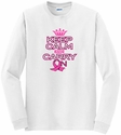 Pink Ribbon Keep Calm & Carry On Long Sleeve Shirt - in 18 Shirt Colors