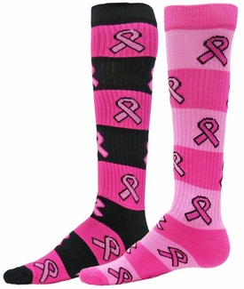 Pink Ribbon Rugby Stripe Knee High Socks - 2 Color Options