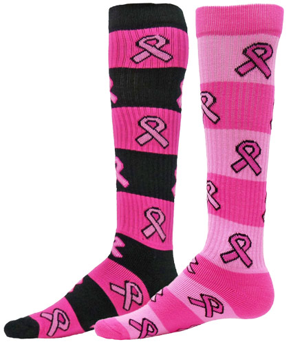 Pink Ribbon Breast Cancer Awareness Rugby Style Knee High Socks in 2 ... d11cae97c51b