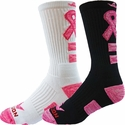 Pink Ribbon Space Dye Crew Socks - 2 Color Options