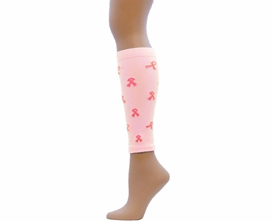Pink Ribbon Compression Calf Sleeves