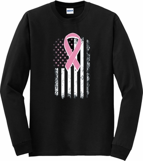 Pink Ribbon & USA Flag Cancer Awareness Long Sleeve Shirt - in 18 Shirt Colors
