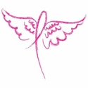 Pink Ribbon Wings Cancer Awareness T-Shirt - in 27 Shirt Colors