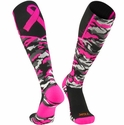 Pink Ribbon Woodland Camo Over-Calf Performance Socks