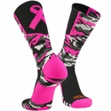 Pink Ribbon Woodland Camo Performance Crew Socks