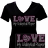 Love My Volleyball Player Pink Rhinestone V-Neck Fitted Shirt