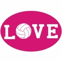 Pink & White Oval 'Love' Volleyball Magnet