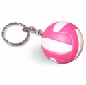 Pink & White Round 3-D Volleyball Key Chains