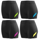 "Poly / Spandex 4"" inseam Black & Neon Stripe Spandex Shorts - in 4 Colors"