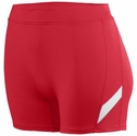 "Poly / Spandex 4"" Stride Red / White Spandex Shorts"