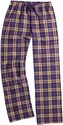 Purple & Gold Plaid Flannel Lounge Pants - Choice of 22 Sports on Leg or Rear