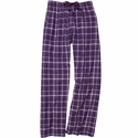 Purple Sparkle Plaid Flannel Lounge Pants - Choice of 22 Sports on Leg or Rear