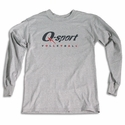 Q-sport Volleyball Logo Long Sleeve Grey Shirt
