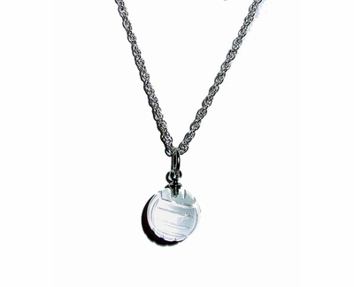 Quartz Crystal Volleyball Charm Necklace