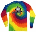 Rainbow Tie Dye Long Sleeve Shirt - in 6 Volleyball Designs