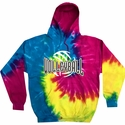 Reactive Rainbow Tie-Dye Hooded Sweatshirt - Choice of 10 Volleyball Designs
