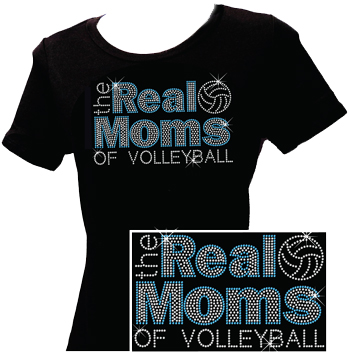Real Moms Of Volleyball Blue Rhinestone Crew Neck Fitted Shirt