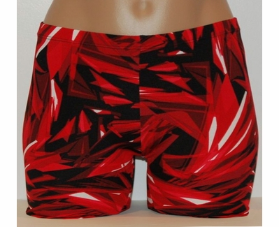 Red & Black Cracked Ice Spandex Shorts