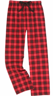 Red & Black Plaid Flannel Lounge Pants - Choice of 22 Sports on Leg or Rear