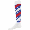 Red & Blue Swirl Stars & Stripes Knee High Socks