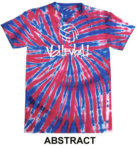 Red & Blue Tie-Dye T-shirt - in 6 Volleyball Designs