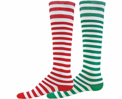 Red & Green Stripes Holiday Mismatch Knee High Socks