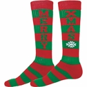 Red & Green Stripes Merry Xmas Holiday Knee High Socks