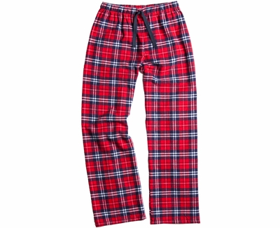 Red & Navy Plaid Flannel Lounge Pants - Choice of 22 Sports on Leg or Rear