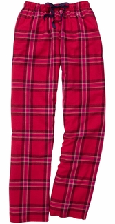Red & Pink Plaid Flannel Lounge Pants - Choice of 22 Sports on Leg or Rear