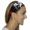 Red / White / Blue Paint Splat Spandex Fabric Headband