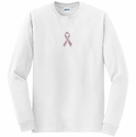 Rhinestone Pink Ribbon Awareness Long Sleeve Shirt - in 20 Shirt Colors