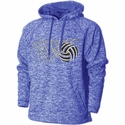 Royal Blue Heather Performance Fleece Hoodie w/ Net & Ball Volleyball Design
