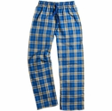 Royal & Gold Plaid Flannel Lounge Pants - Choice of 22 Sports on Leg or Rear