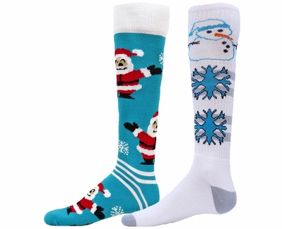 Santa & Snowman Holiday Winter Knee High Socks