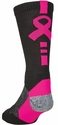 Shooter 2.0 Black & Pink Ribbon Crew Socks