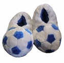 Silver Plush Soccer Ball Slippers
