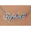 Silver Softball Script Charm Necklace