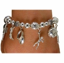 Silver Volleyball Beach Charm Bracelet