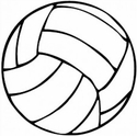 "Small 3"" Round Black & White Volleyball Magnet"