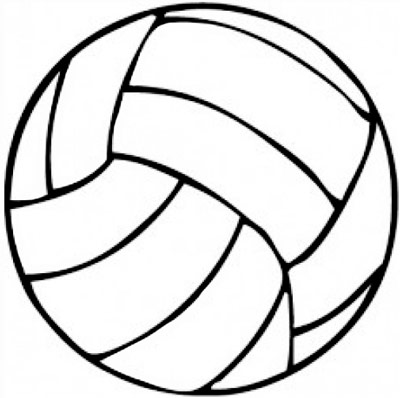 Small 3 round black white volleyball decal