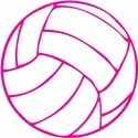 "Small 3"" Round Pink & White Volleyball Decal"
