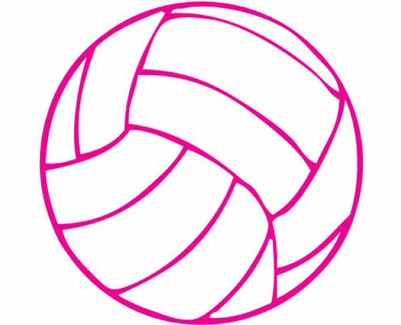 """Small 3"""" Round Pink & White Volleyball Decal"""