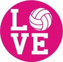 "Small Pink 3"" Round 'Love' Volleyball Decal"