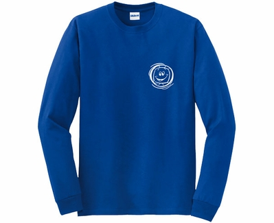 Smiley Face Design Volleyball Long Sleeve Shirt - in 18 Shirt Colors