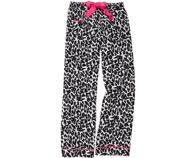 Snow Leopard Flannel Lounge Pants - Choice of 22 Sports on Leg or Rear